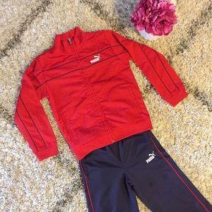Puma Boys Tracksuit Jacket Pants Red Navy